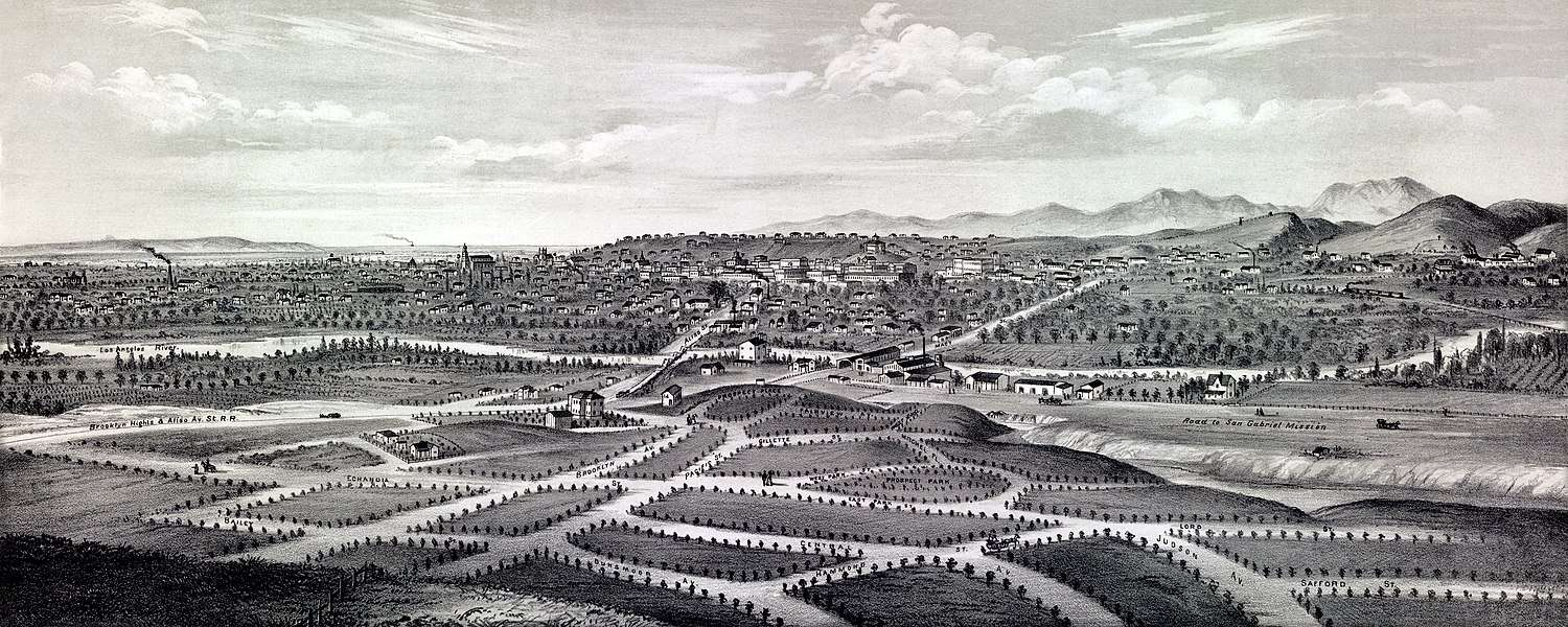 Plan of Boyle Heights in 1877, with the Los Angeles River across the center and Los Angeles city in the background