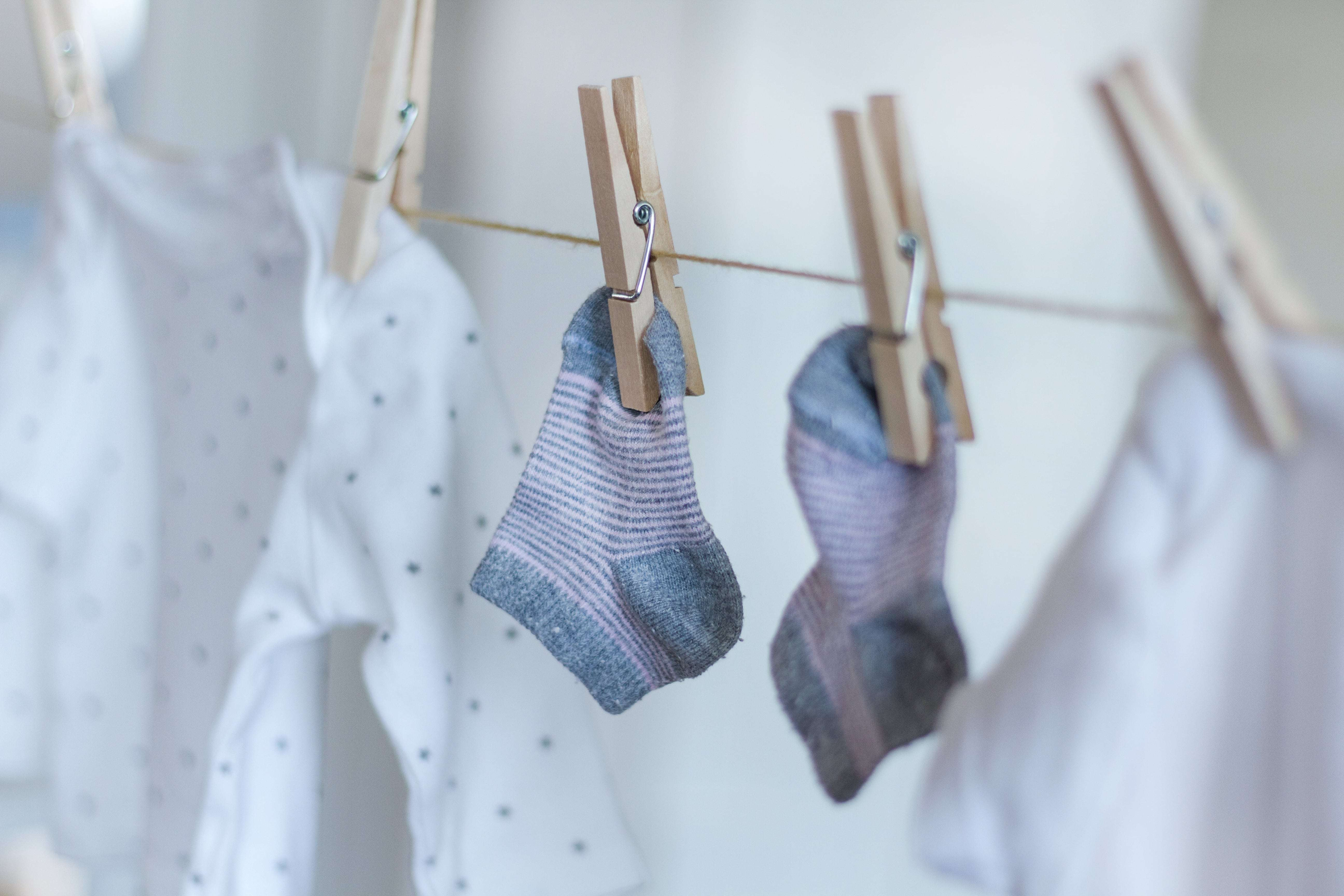 Hanging clothes and linens for line drying